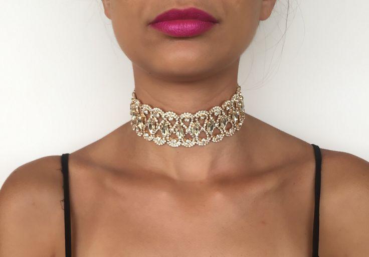 Crystal Choker | Crystal Necklace | Diamond Choker | Choker Necklace | Swarovski Choker | Silver Choker | Rhinestone Choker by byDej on Etsy