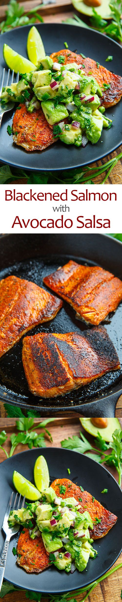 Blackened Salmon with Avocado Salsa - You cannot have too much of a delicious thing.