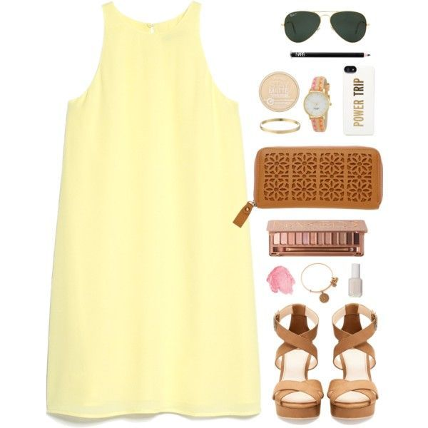 Yellow Sleeveless Dress and Brown Clutch