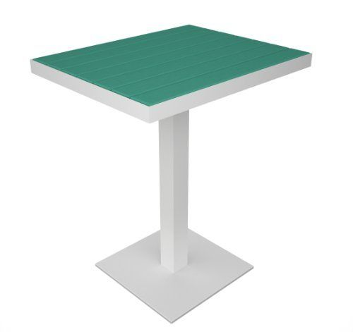 Polywood Euro Pedestal Dining Table, White Base Color: Aruba by Polywood. $279.99. Table requires no weather proofing, staining or other preparation. Dimensions: 24L by 20W by 29H inches; Seats: 4 people. All-weather aluminum base with recycled plastic slats. 5-year warranty; made in USA. Polywood material looks like real wood, with none of the upkeep. Bring style and performance to any outdoor setting with the sophisticated look of our new Euro Collection. De...
