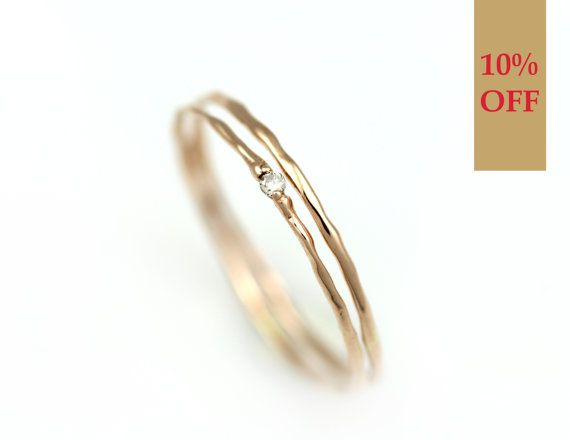 Ensemble de diamant d'empilage anneaux or, bague d'empilage, couches anneaux d'or, 14 k or massif avec anneaux empilables naissance véritable diamant naturel
