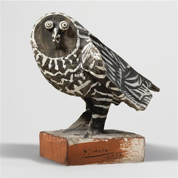 Pablo Picasso - Le Hibou Gris, 1953, Handpainted terracotta, Height: 13 5/8 in. (alt: 34.5 cm).
