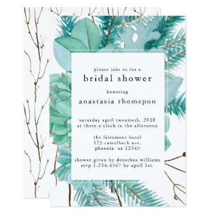 Watercolor Twigs & Light Green Bridal Shower Card - wedding invitations diy cyo special idea personalize card