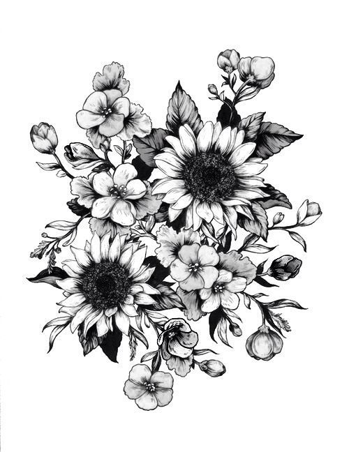 Wildflower Tattoo Designs Design Tattoos Tattoo Flower Flowers Idea Drawings Tattoo Design Flowert Tatuaje De Girasol Tatuajes Negros Tatuajes Girasoles