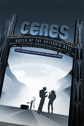 Ceres, Queen of the Asteroid Belt - JPL Travel Poster | Links to so many more travel posters. Awesome.