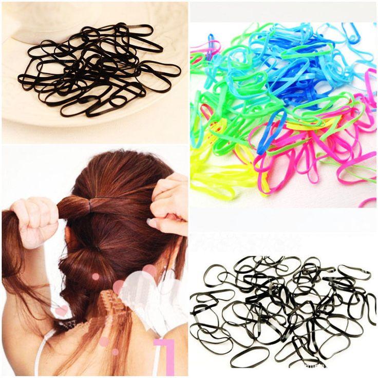 300 stks/pak Rubber Touw Paardenstaart Houder Elastische Haarbanden Ties Vlechten Vlechten haar clip hoofdband Haaraccessoires