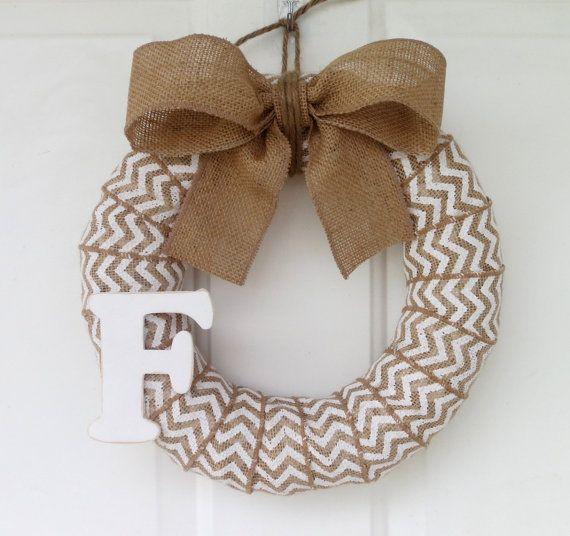 Chevron Burlap Wreath Initial Wreath