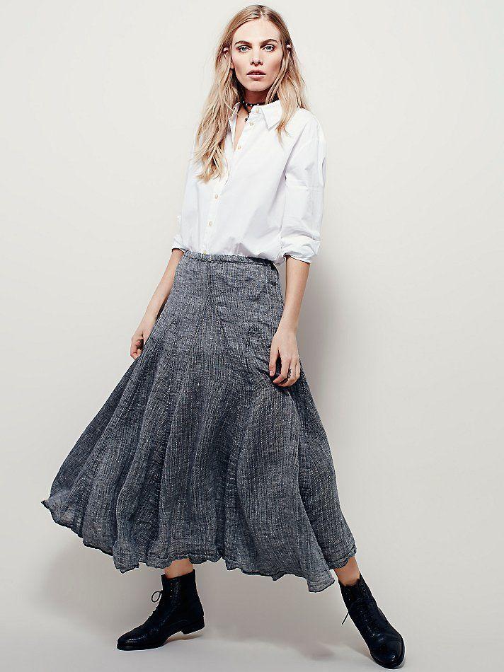 448926f664a2 Lily Linen Maxi Skirt | Free People | Skirts, Boho skirts, Black denim skirt