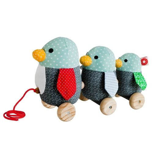 Drie grappige pinguïns op wielen #gift #toys