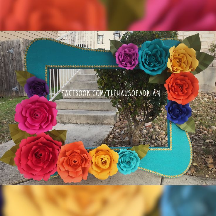 Fiesta Themed Photo Prop Frame with handmade paper flowers