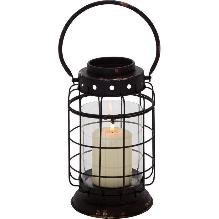 Ethnic and Rusty Metal Glass Lantern