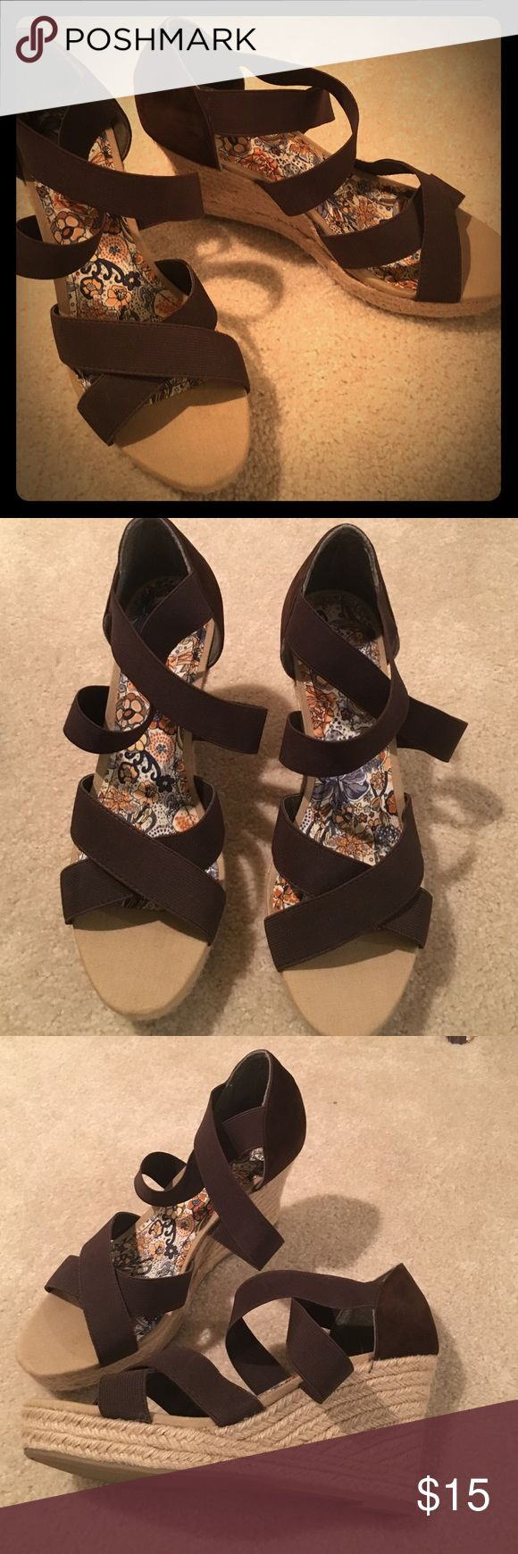 """Never worn brown strappy wedge sandals Size 10 Never worn brown wedge sandals.  Straps are elastic   Canvas 2"""" heel. Suede back Bamboo Shoes Wedges"""