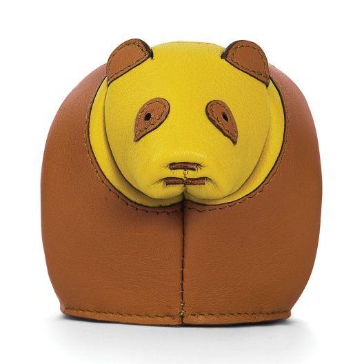 Loewe Animales - MONEDERO PANDA Bronceado/amarillo