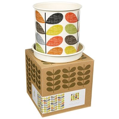 Large enamel planter pot by Orla Kiely featuring the multistem print.  The planter comes complete with drip tray.  Great gift for those who appreciate Orla's fabulous prints. On sale now at Contemporary Pieces online Australia.