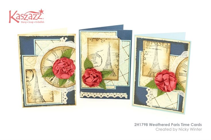 2H1798 Weathered Paris Time Cards