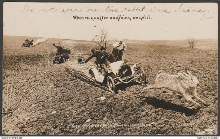 Exaggeration, Hunting Giant Rabbits in Motor Cars, Canada, 1910 - Canadian Postcard Co RPPC