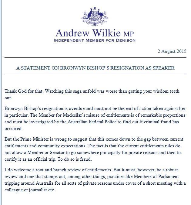 .@lorrainewhat Andrew Wilkie's media release re Bronwyn Bishop. Spot on @WilkieMP
