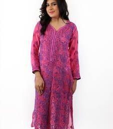 Buy Ada Hand Embroidered Extra Small Pink faux Georgette Lucknow Chikankari Long Kurti long-kurti online