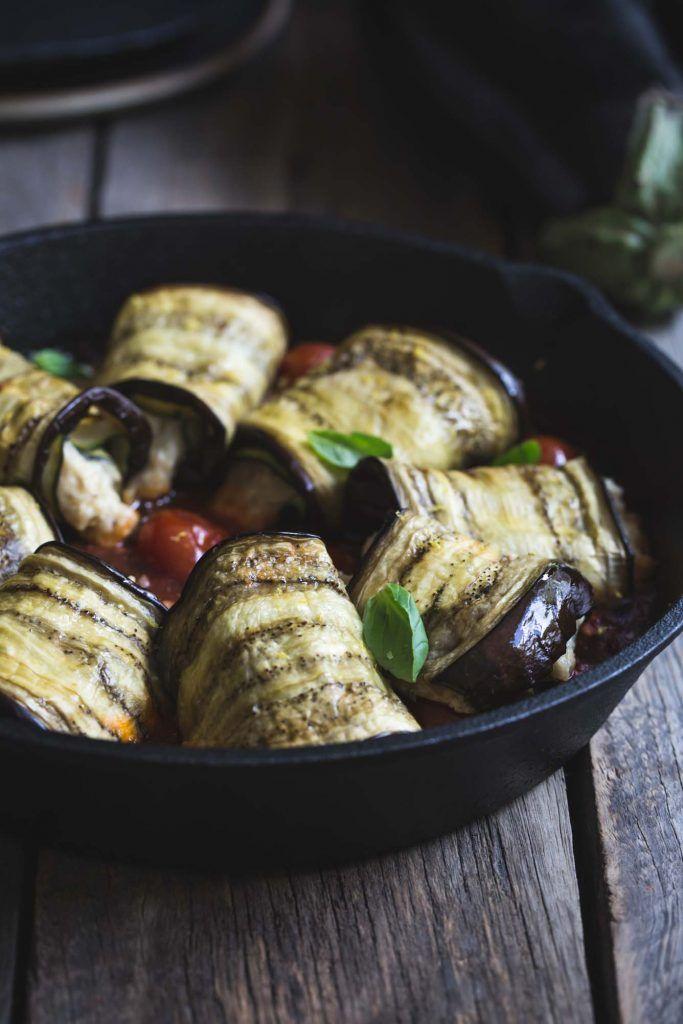 Vegan Eggplant Involtini With Sweet Onion Ricotta Recipe Vegan Eggplant Healthy Vegan Snacks Vegetarian Recipes Dinner