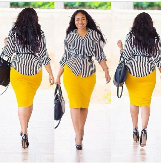 Yellow/mustard pencil skirt outfit