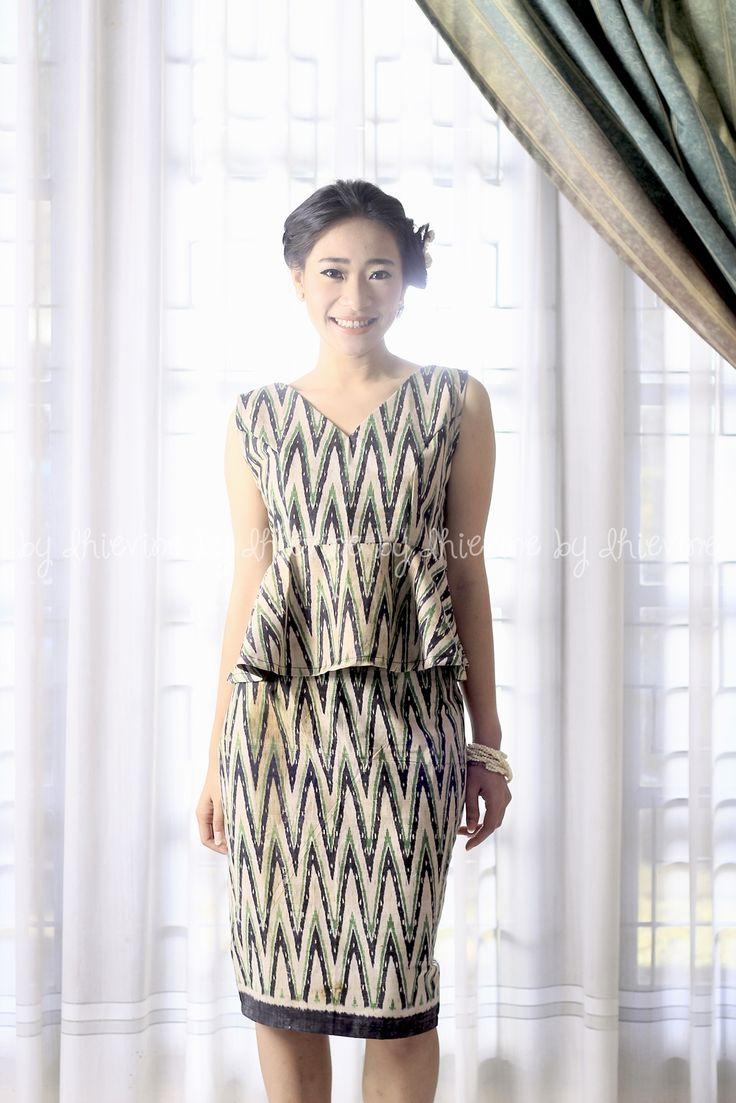 Tenun Rang Rang | Peplum top | Tight skirt| Pencil Skirt | Galuh Ayu Green Set ( Top and Skirt ) | DhieVine | Redefine You