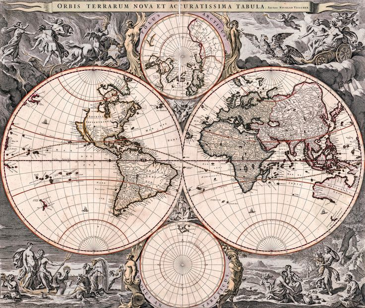 20 best antique maps vintage maps art prints images on antique world map old vintage map 1690 fade resistant hd art print or gumiabroncs Gallery