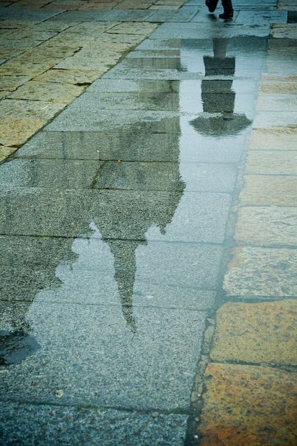 Light; dull: Doesn't stand out. The reflection off of the ground on a rainy day is dull and lacking color and vibrance.