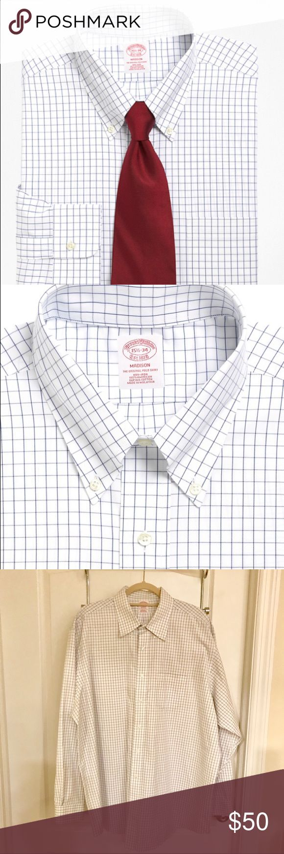 NWOT Madison Fit Windowpane Dress Shirt SIZE 18-36 Additional features include a left chest pocket and a center back pleat. Machine wash according to care instructions for best performance. Imported.  The Madison fit is a classic cut, relaxed in the chest and sleeves.  Size 18-36 NWOT NEVER WORN Brooks Brothers Shirts Dress Shirts