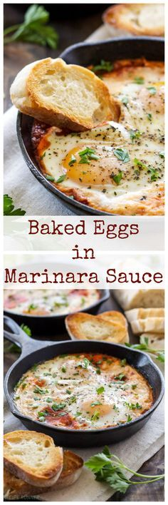 Baked Eggs in Marinara Sauce   3 ingredients are all you need to make these delicious Italian flavored baked eggs!