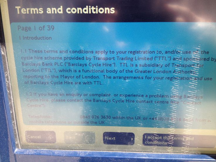 A 39 page Terms and Conditions just for renting a bike.(London)