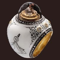 Sevan BICAKCI ring, 14kt gold, enamel, diamonds - read the article, amazing work!