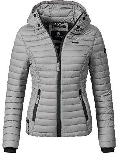 Marikoo Damen Übergangs-Jacke Jacke Steppjacke Samtpfote Grau Gr. S ... c892a3ee16
