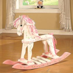 "Princess Rocking Horse - ""  Princess Rocking Horse - This beautifully hand-decorated, wooden rocking horse is sure to delight your favorite little princess! Creative and playful, each rocking horse is sure to become a treasured part of a special little one's memories!"""