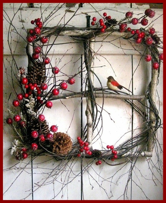 Sweet, square, twig wreath.