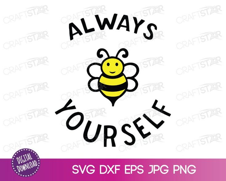 Download Always Bee Yourself SVG File Cute Cartoon Bee Quote | Etsy ...