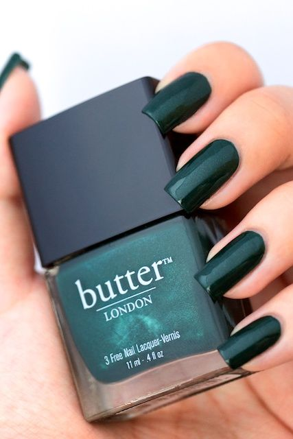 butter LONDON British Racing Green - I LOVE this polish and this green. So pretty. Wearing it right now.