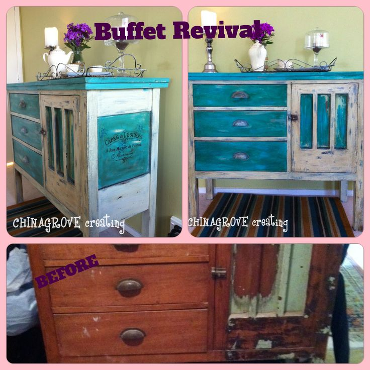 Buffet Revival in turquoise and cream homemade chalked paint with Vintage french stencilling. Read this on http://chinagrove.co.nz