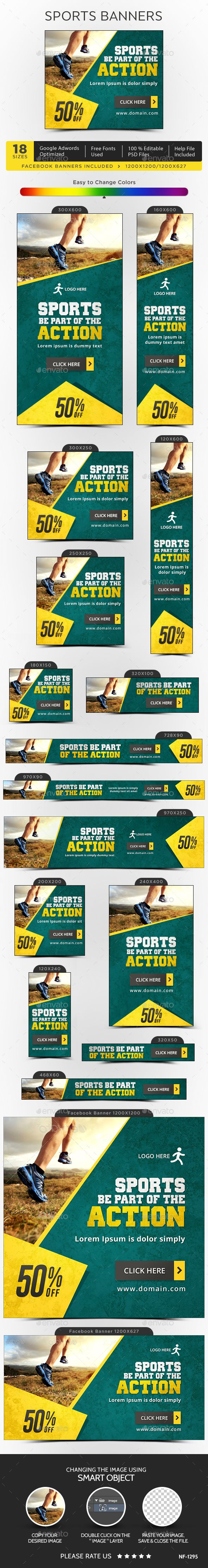 Sports Banners Design Template  - Banners & Ads Web Elements Design Template PSD. Download here: https://graphicriver.net/item/sports-banners/16161794?s_rank=1795?ref=yinkira