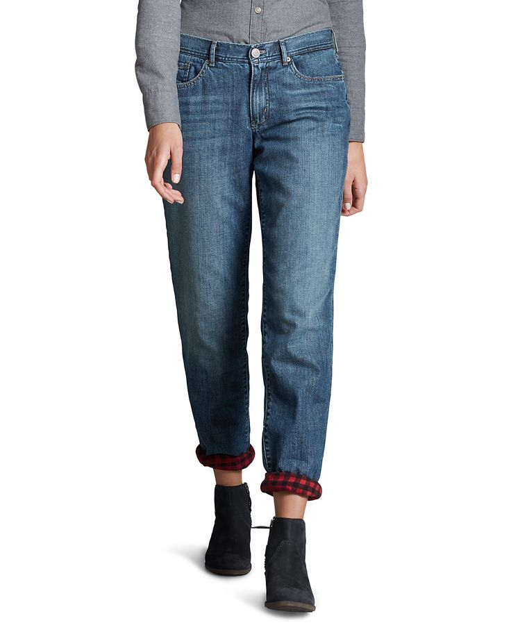 Women's Flannel-lined Jeans - Boyfriend | Eddie Bauer