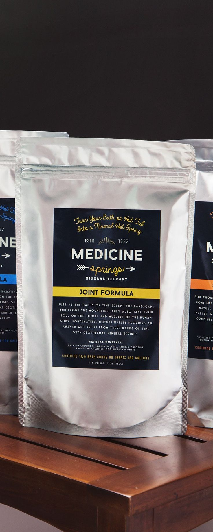Medicine Springs's rejuvinating bath salts, discovered by The Grommet, recreate the healing waters of natural hot springs around the world. Made in the USA.