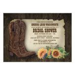 Cowboy Boots Sunflower Bridal Shower Invitations