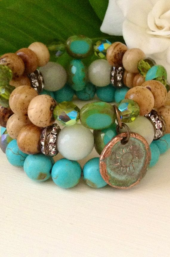 Stacking bracelet set // rustic copper sun charm // turquoise, Czech glass wood stretch