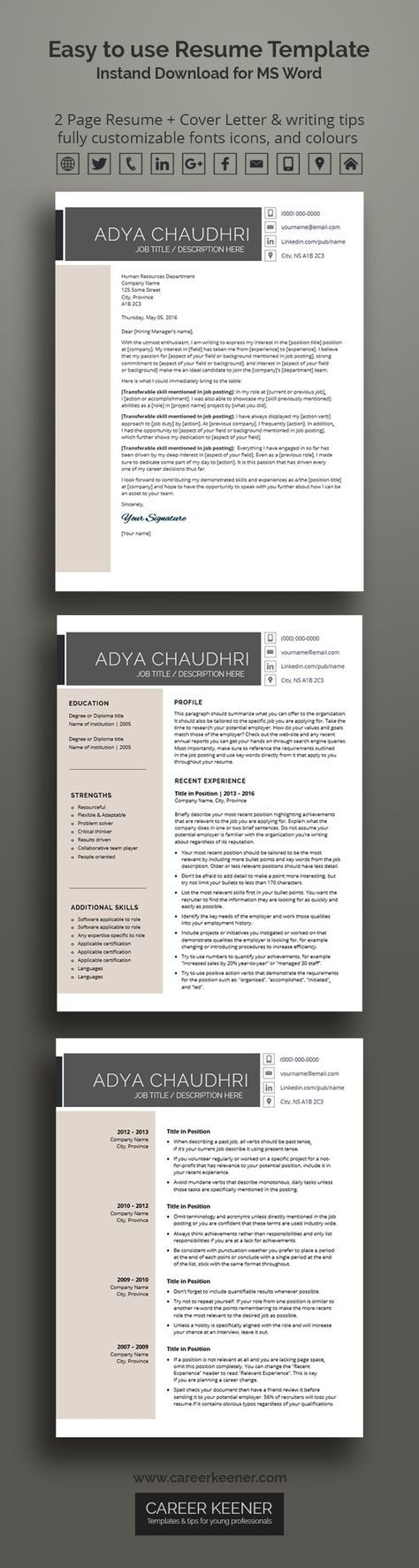 Modern Resume Template Resume + Cover Letter for MS Word Includes Writing Tips Fully Customizable Instant Download Printable A4 | Adya from Career Keener