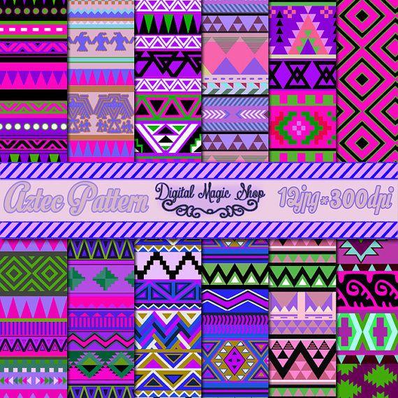 12 pack hot Purple aztèque patrons papier, transparente motif géométrique…