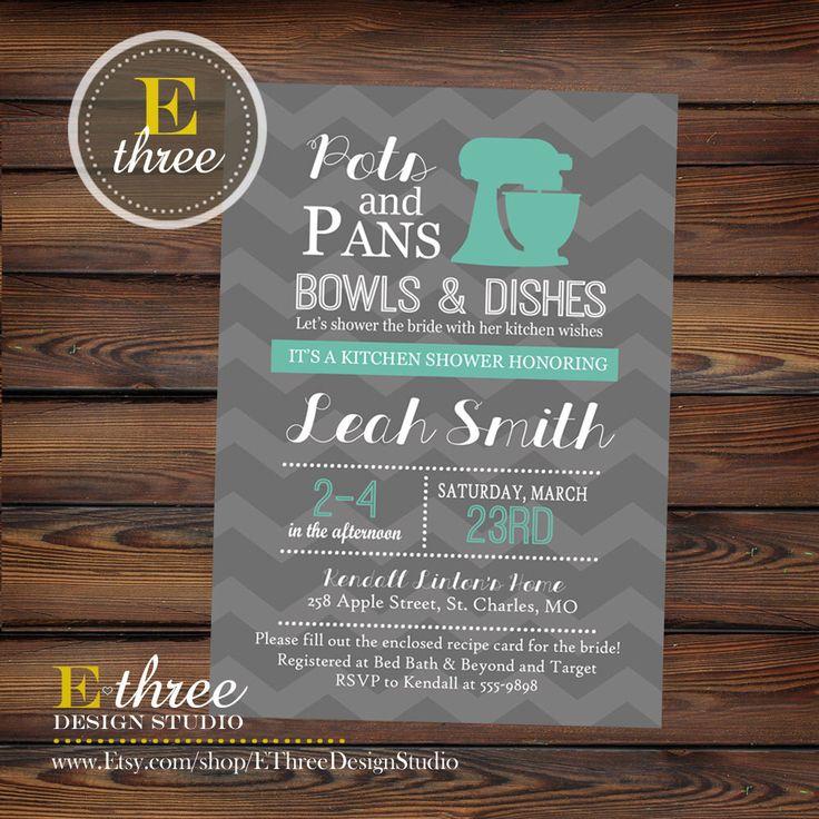 Printable Kitchen Bridal Shower Invitations - Teal and Gray Chevron Bridal Shower Invite - Kitchen Recipe Wedding Shower by EThreeDesignStudio on Etsy https://www.etsy.com/listing/223239992/printable-kitchen-bridal-shower