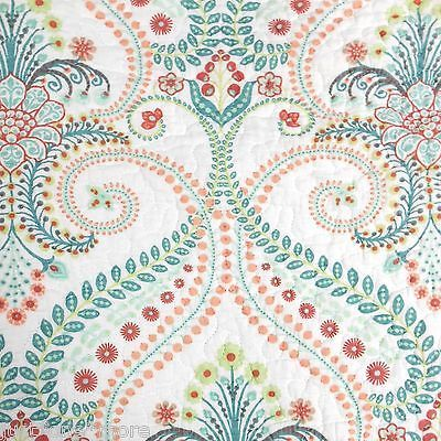 Cynthia Rowley Xl Medallion Queen Quilt 3pc Set Tropical Floral Teal Aqua Coral Queen Quilt