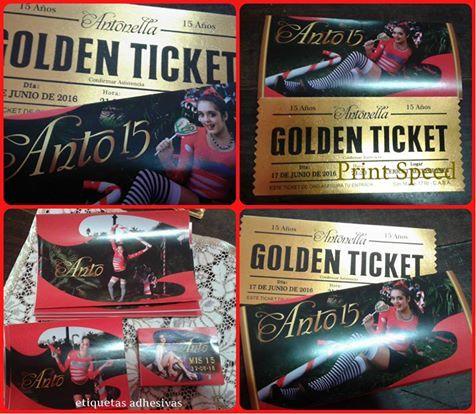 Ticket Dorado personalizado + envoltorio con foto