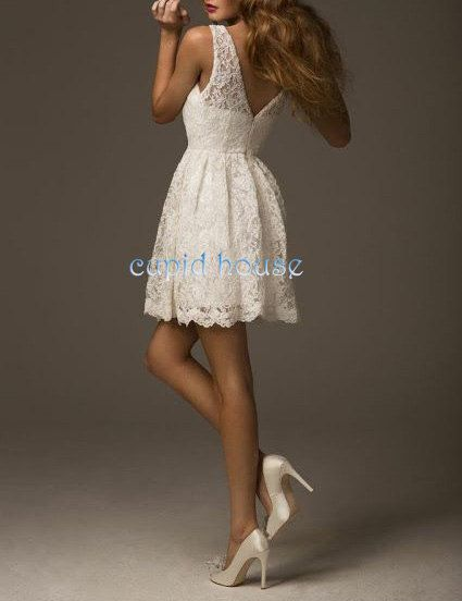 Short lace bridesmaid dress cheap v back white ivory pink for Short ivory wedding dress