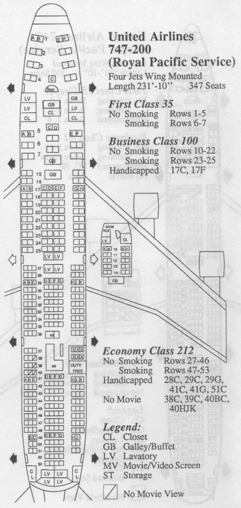 Vintage Seat Map From A United Airlines 747 The Front Of