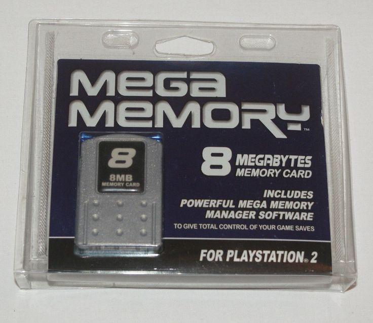 New Mega Memory 8Mb Memory Card Playstation 2 PS2 w/ Memory Manager CD NOS #Datel
